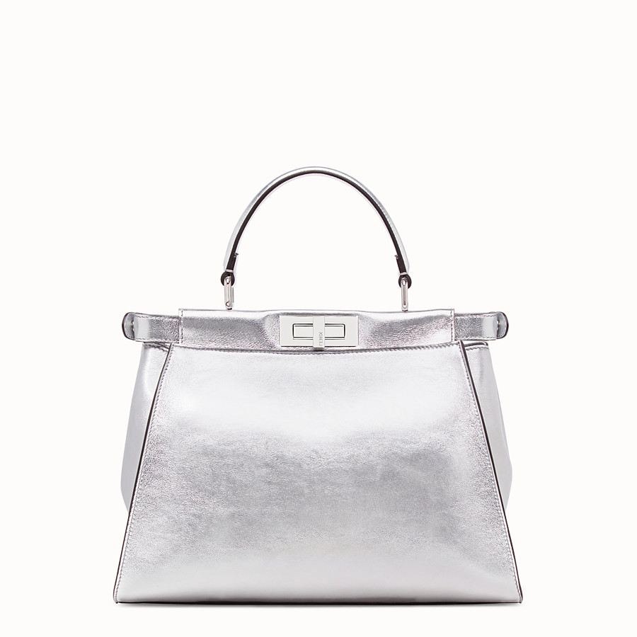 FENDI PEEKABOO ICONIC MEDIUM - Silver leather bag - view 3 detail