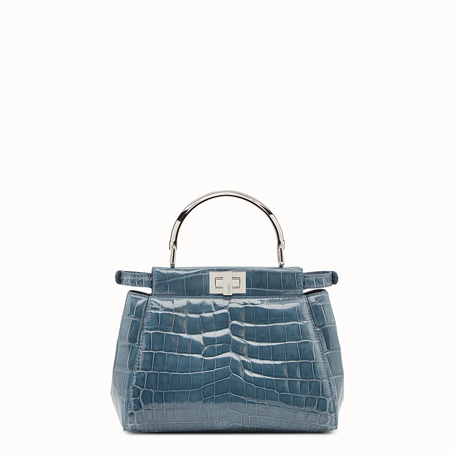 FENDI PEEKABOO MINI - Blue crocodile bag - view 3 detail
