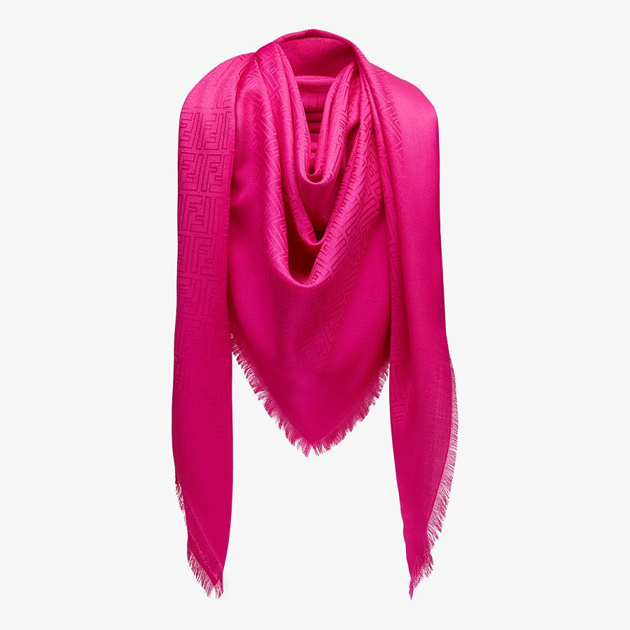 FENDI SCIALLE FF - Scialle in seta e lana fucsia - vista 2 dettaglio