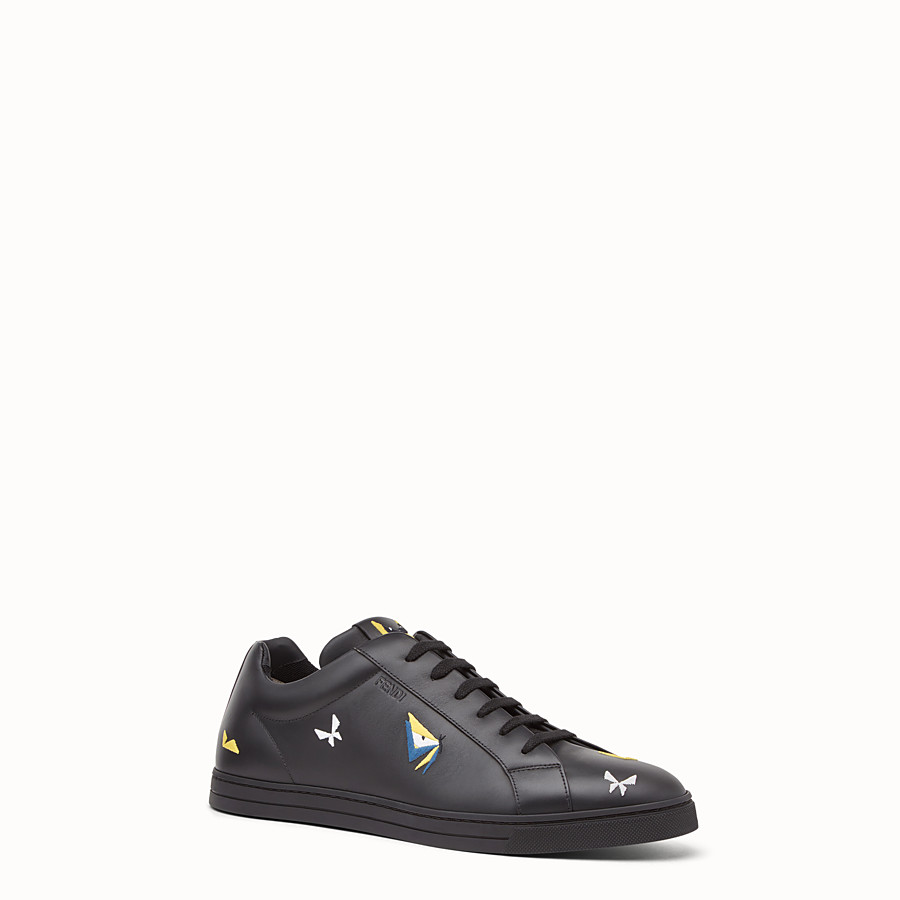 FENDI SNEAKER - Black leather lace-ups with embroidery - view 2 detail
