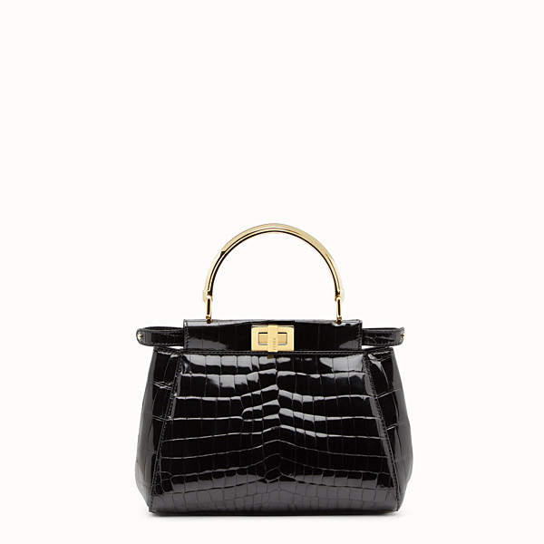 FENDI PEEKABOO MINI - Black crocodile leather handbag. - view 1 small thumbnail