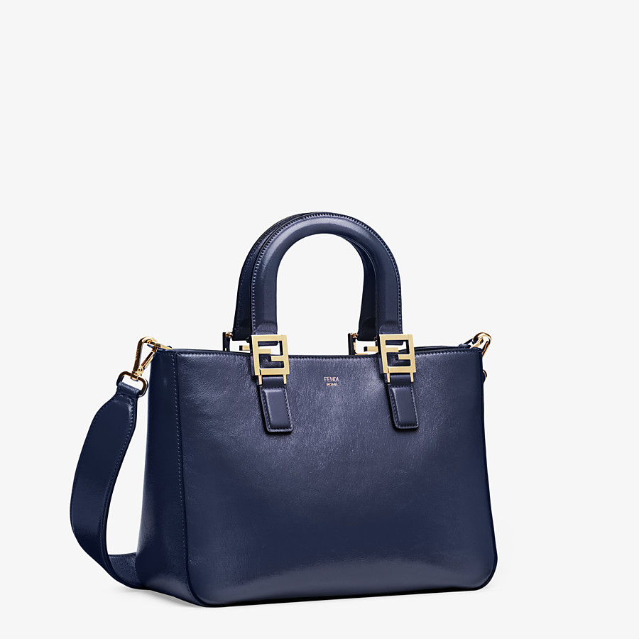 FENDI FF TOTE SMALL - Blue leather bag - view 3 detail