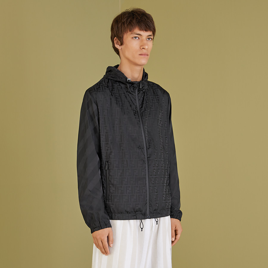 FENDI WINDBREAKER - Black nylon jacket - view 5 detail