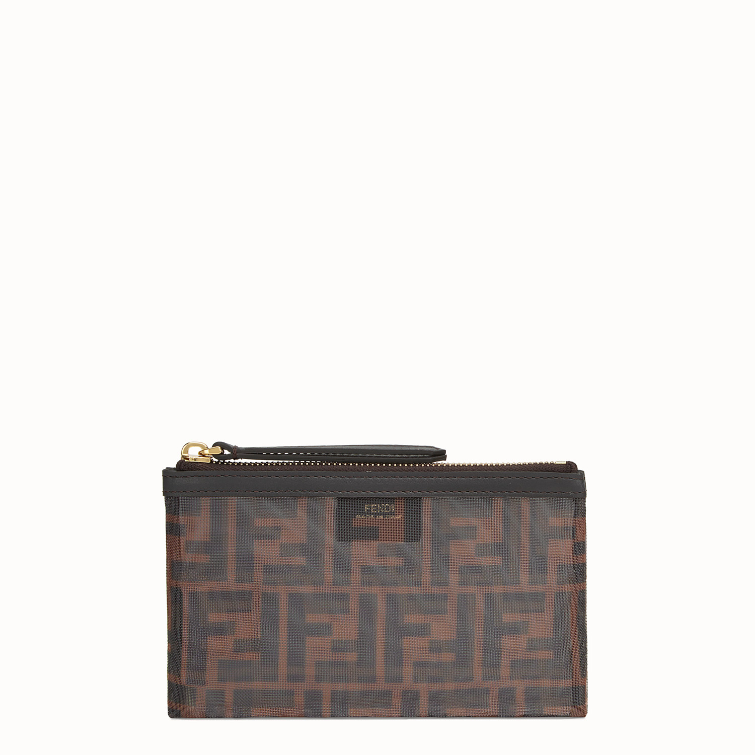 Fendi Small Flat Pouch In Brown