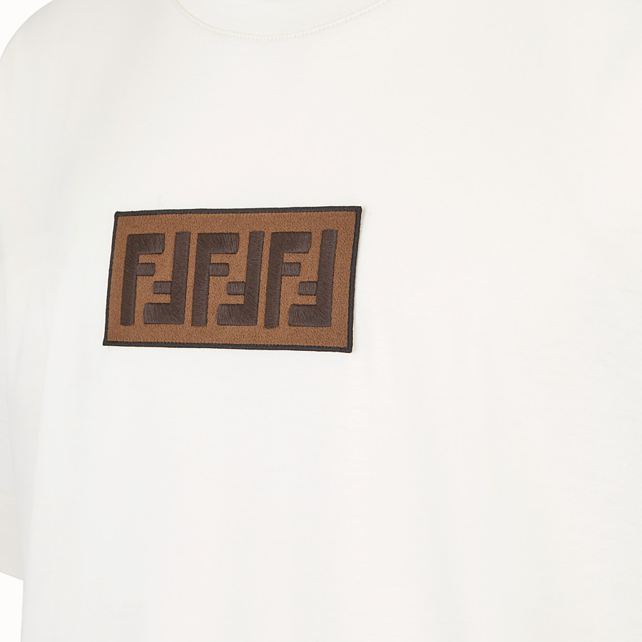 FENDI T-SHIRT - White cotton jersey T-shirt - view 3 detail