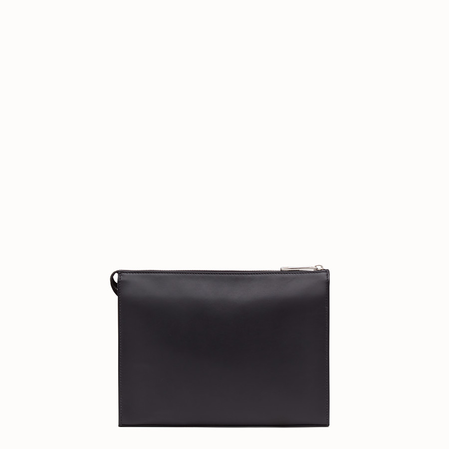 FENDI CLUTCH - Black calf leather pochette - view 3 detail