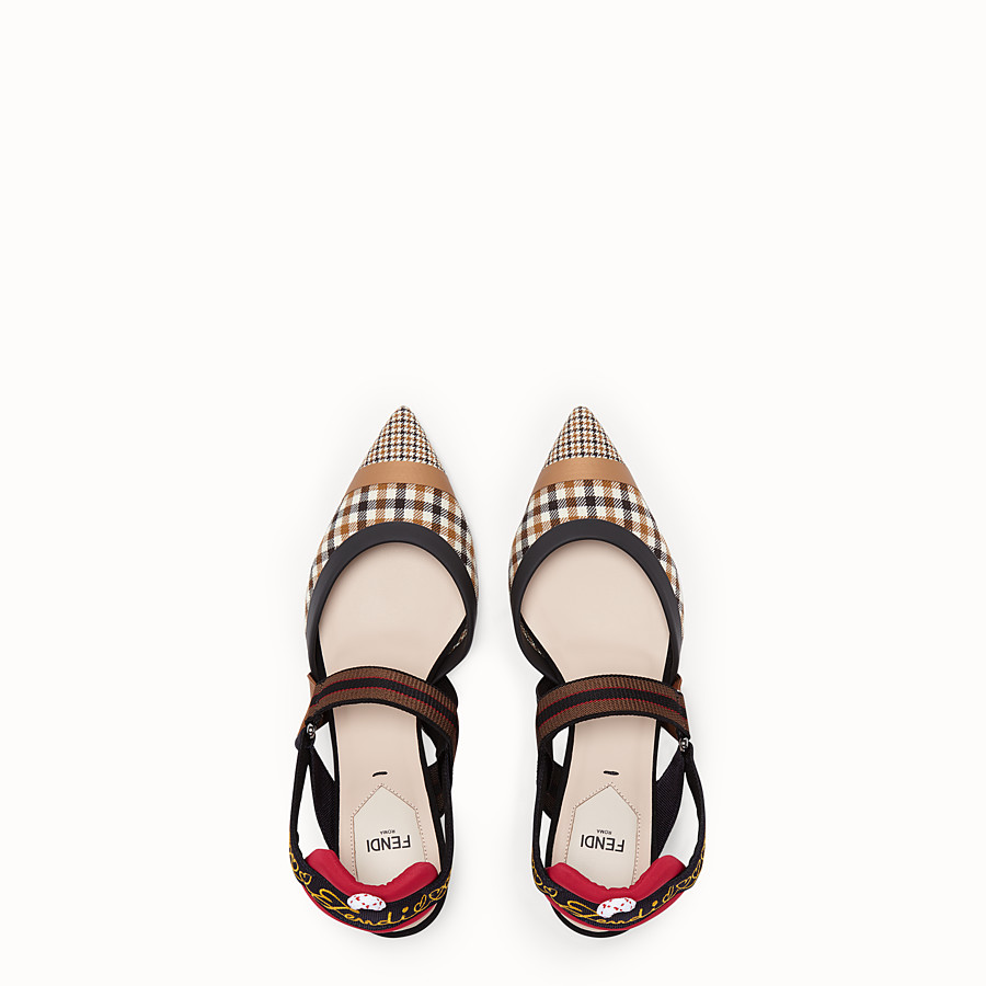 FENDI COURT SHOES - Multicolour wool slingbacks - view 4 detail