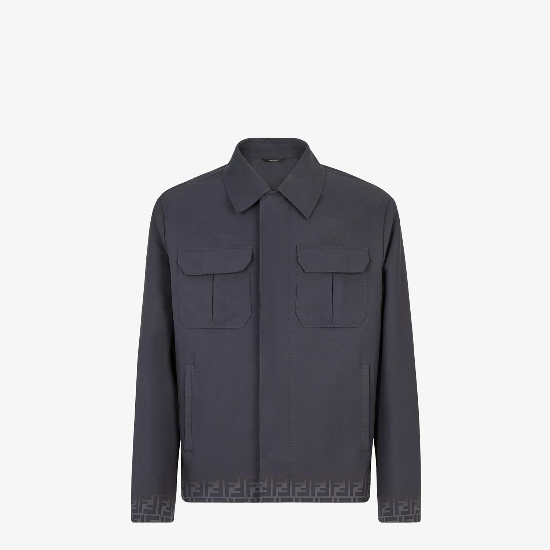 FENDI CARCOAT - Black gabardine jacket - view 1 detail