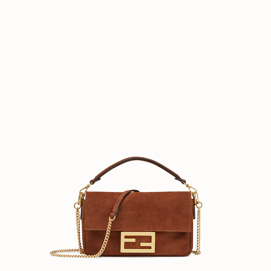 FENDI MINI BAGUETTE - Brown suede bag - view 1 detail