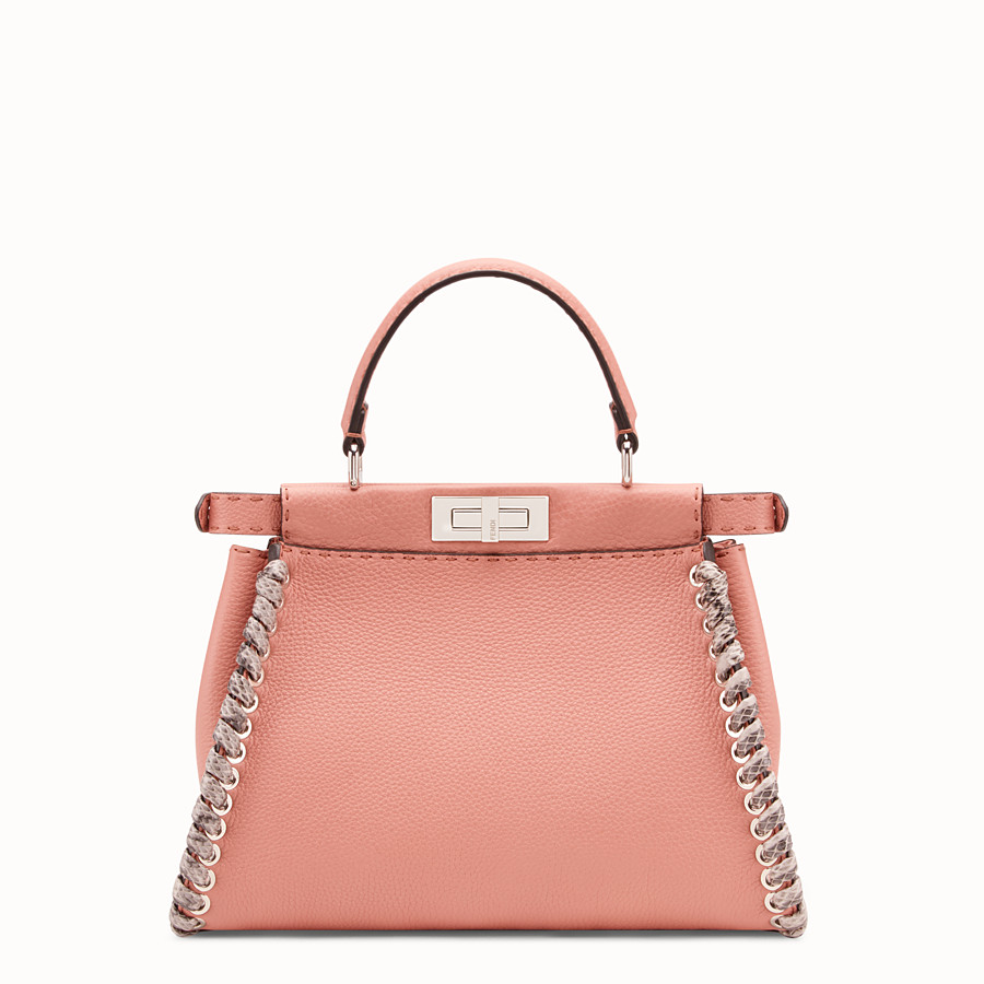 FENDI PEEKABOO REGULAR - Pink leather bag with exotic details - view 3 detail