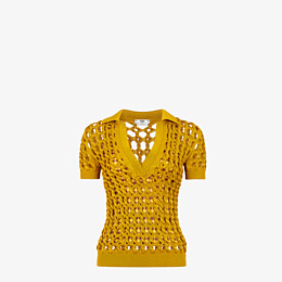 FENDI JUMPER - Yellow knit polo shirt - view 1 thumbnail