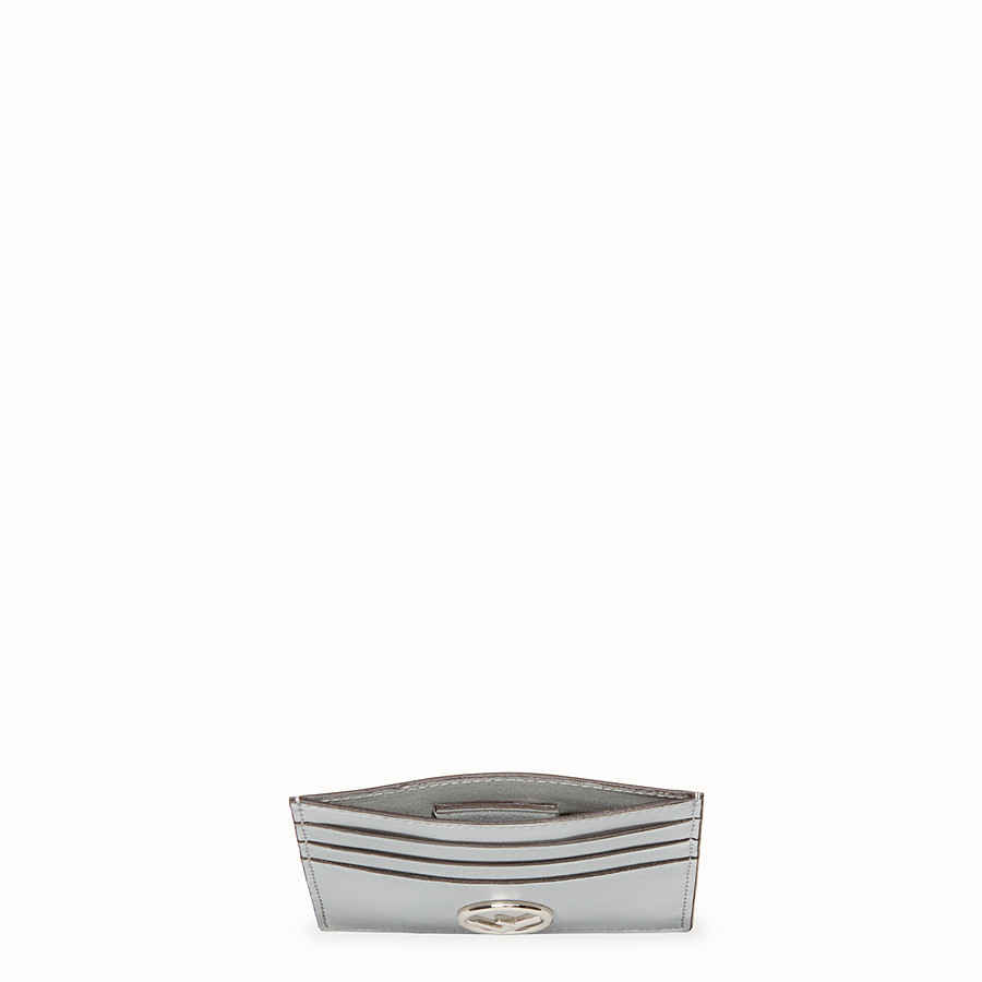 FENDI CARD HOLDER - Grey leather flat card holder - view 4 detail