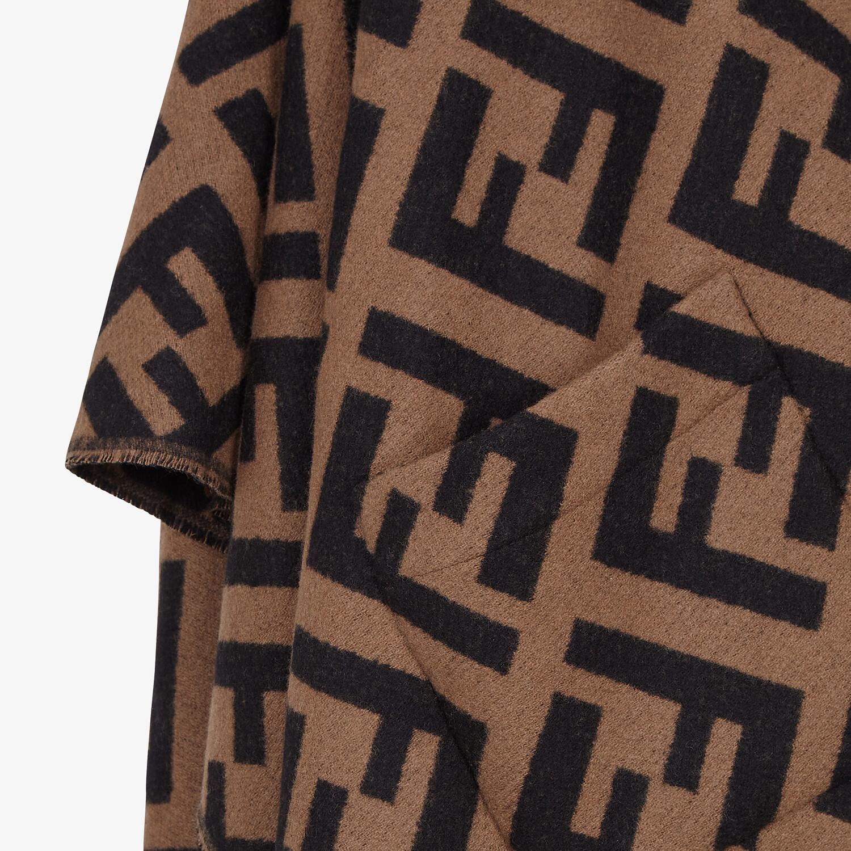 FENDI PONCHO - Brown cashmere poncho - view 3 detail