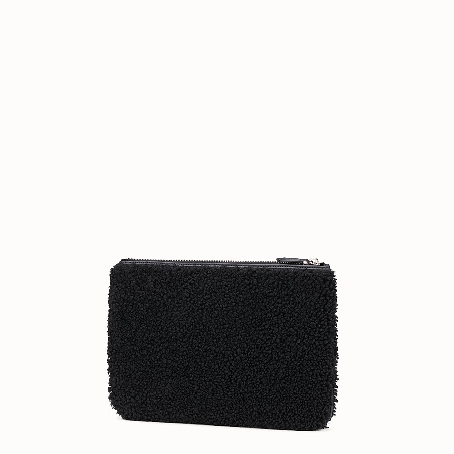 FENDI POUCH - Black sheepskin pochette - view 2 detail