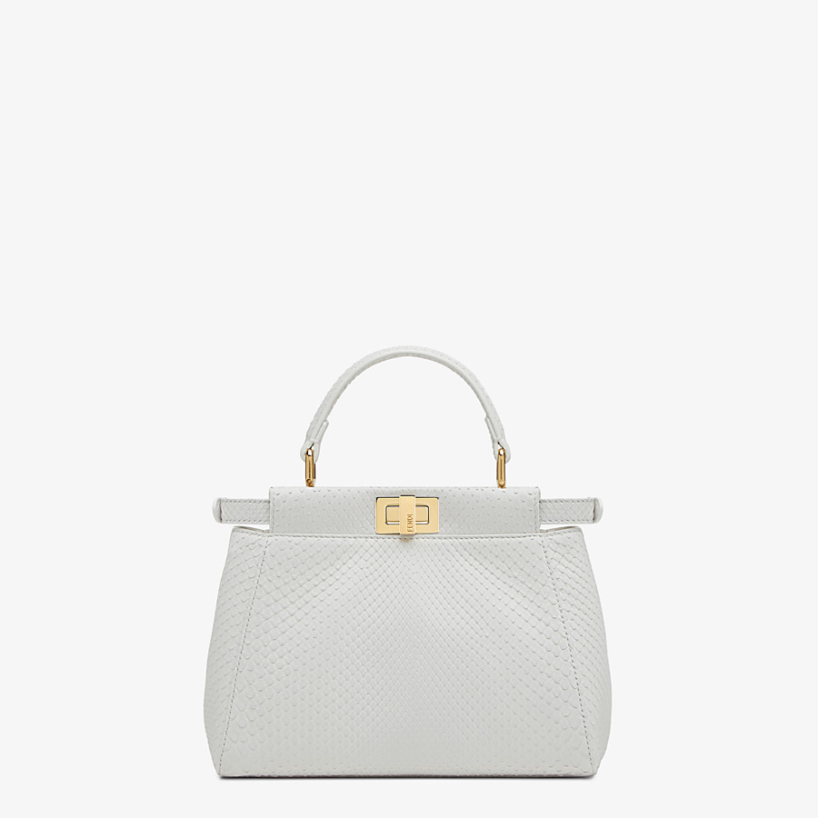 FENDI PEEKABOO ICONIC MINI - White python leather bag - view 3 detail