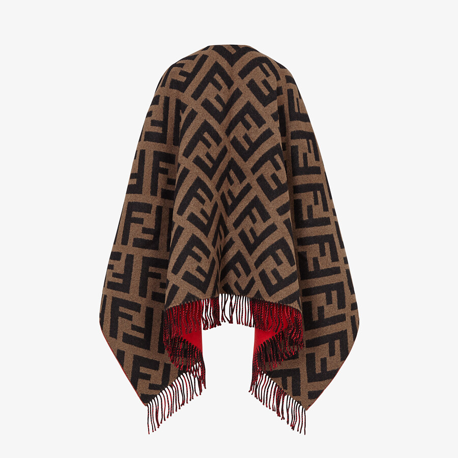 FENDI PONCHO - Multicolour wool and cashmere poncho - view 2 detail