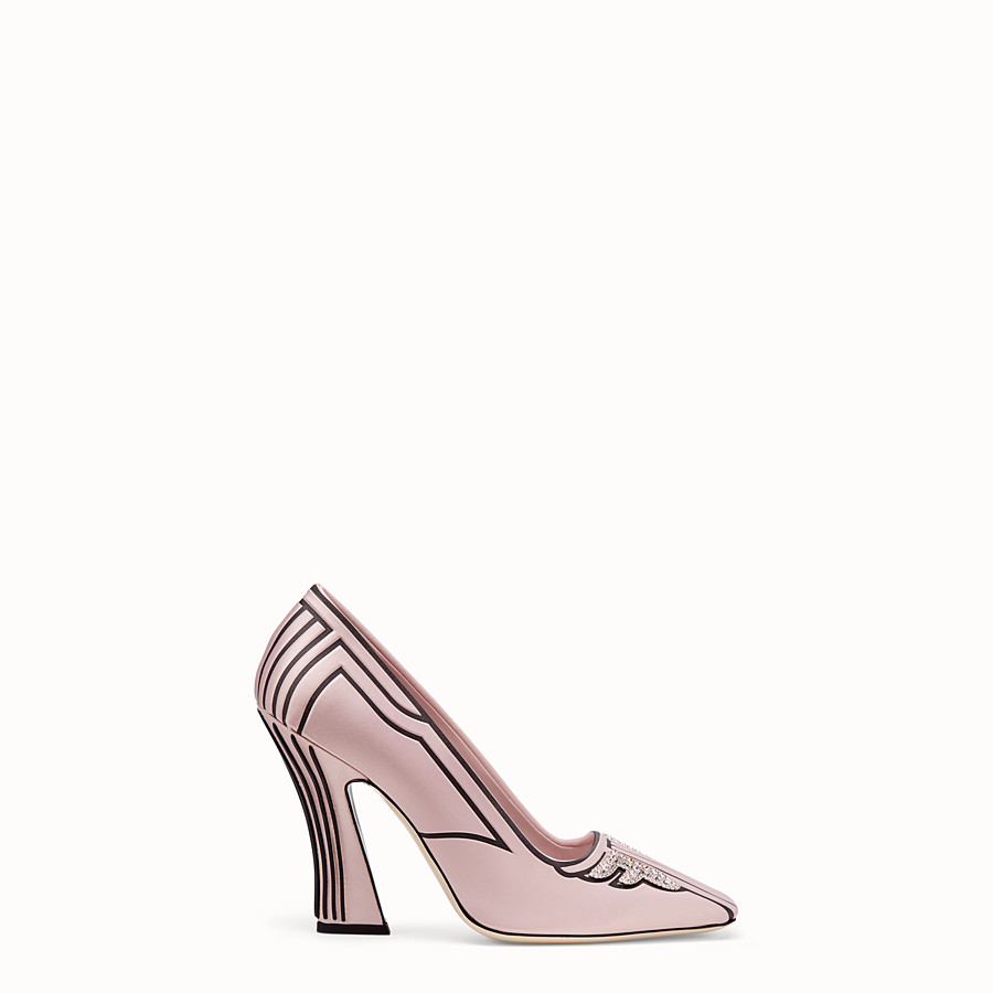 FENDI COURT SHOES - Pink satin court shoes - view 1 detail