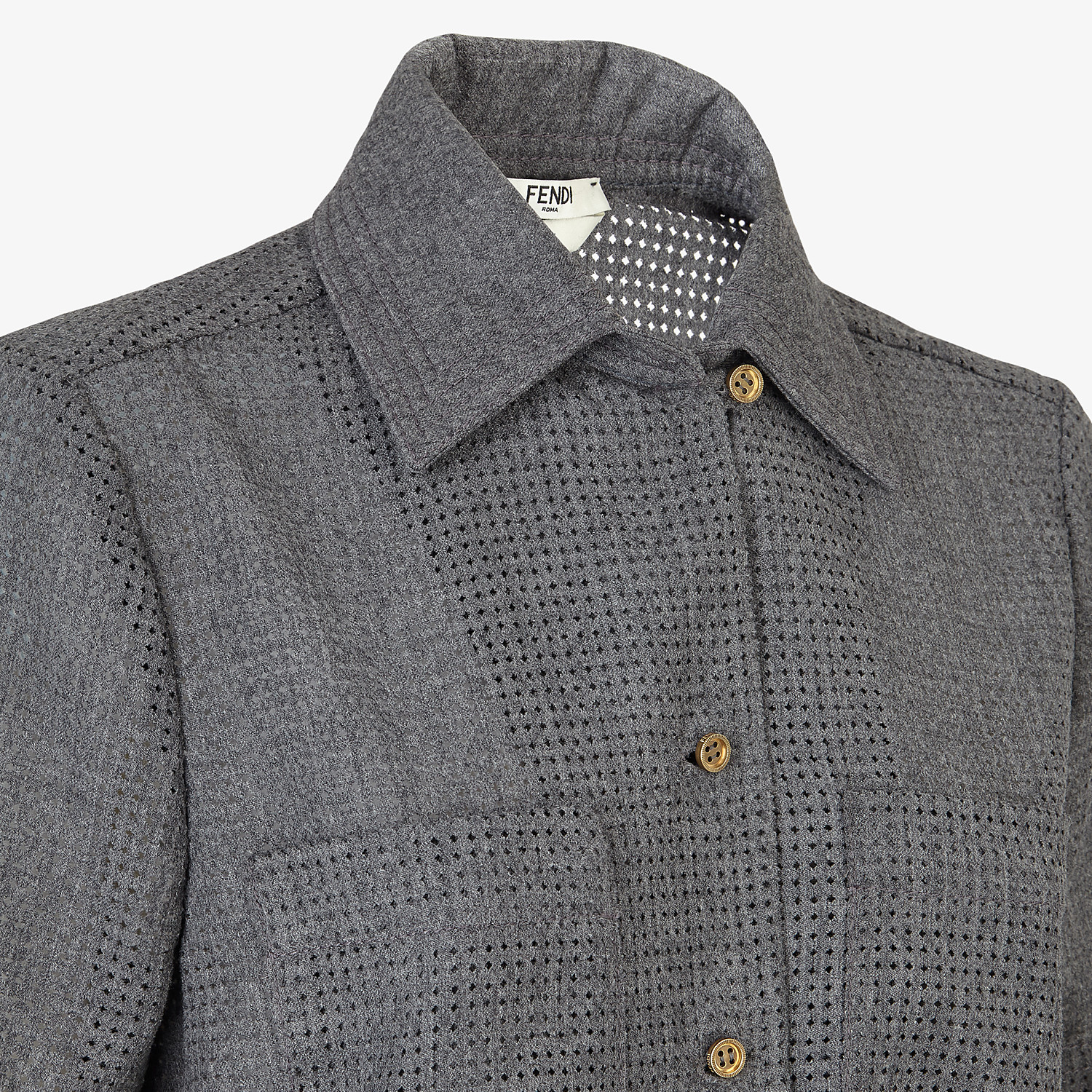 FENDI SHIRT - Gray flannel shirt - view 3 detail