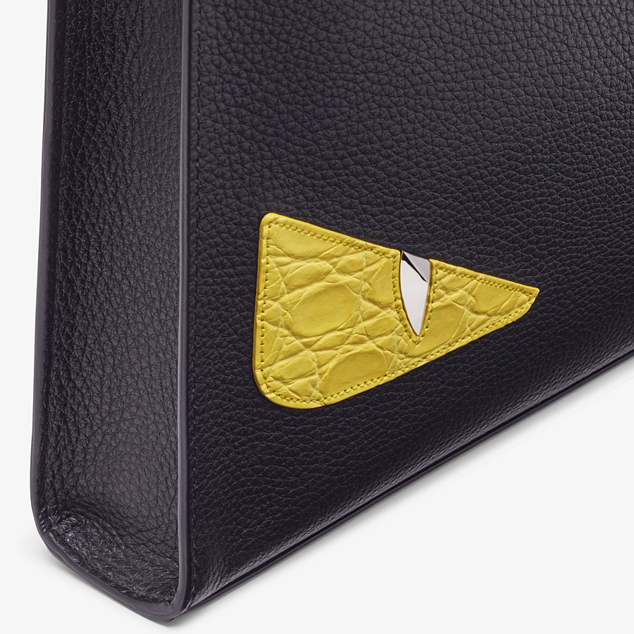 FENDI CLUTCH - Black leather slim pouch - view 5 detail