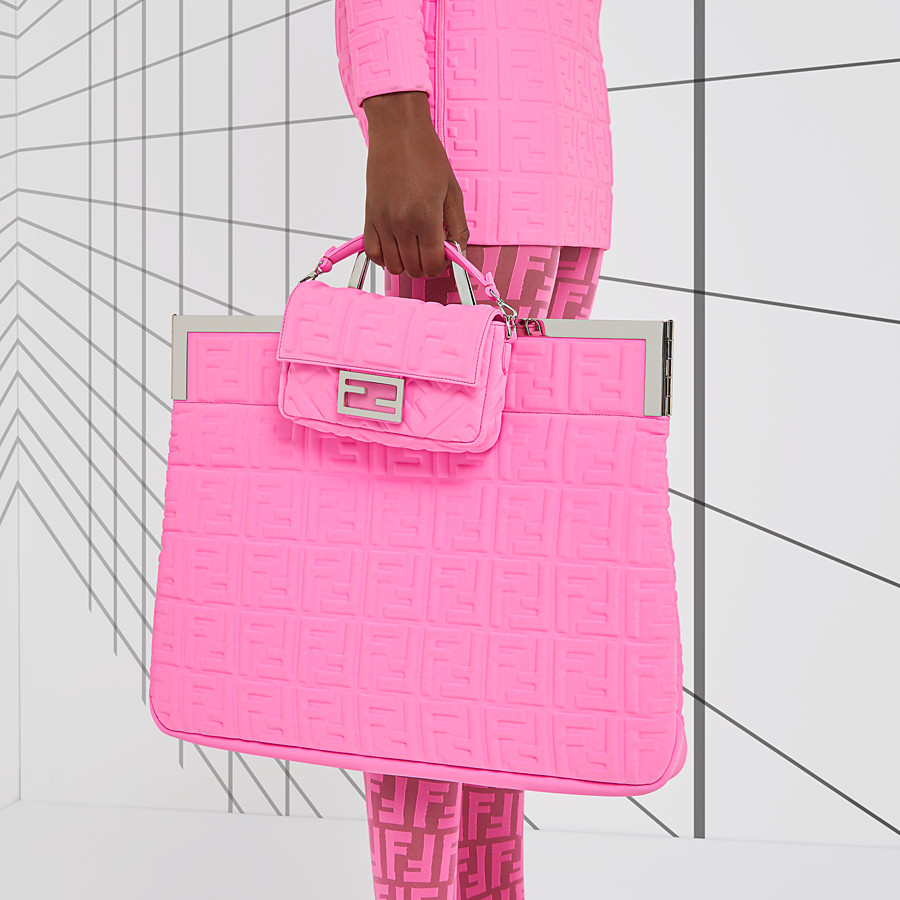 FENDI FLAT SHOPPING BAG LARGE - Shopper in pink Lycra® - view 2 detail