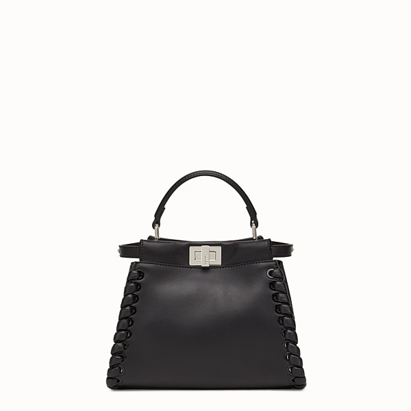 FENDI PEEKABOO ICONIC MINI - black nappa handbag with weave - view 1 small thumbnail