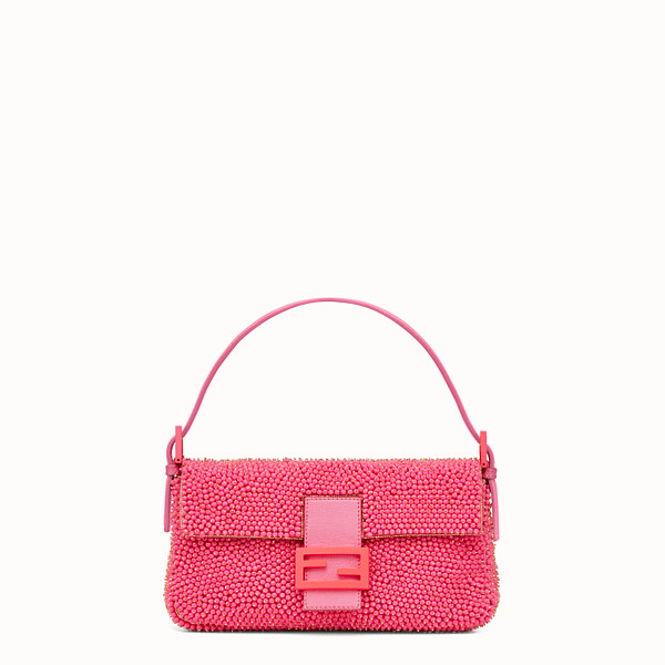 FENDI BAGUETTE - pop pink shoulder bag decorated all over - view 1 small thumbnail