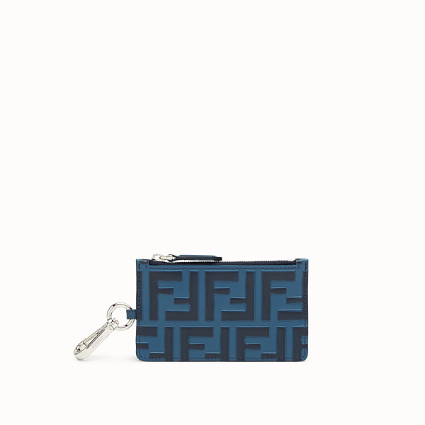 FENDI COIN PURSE - Blue leather card holder - view 1 small thumbnail