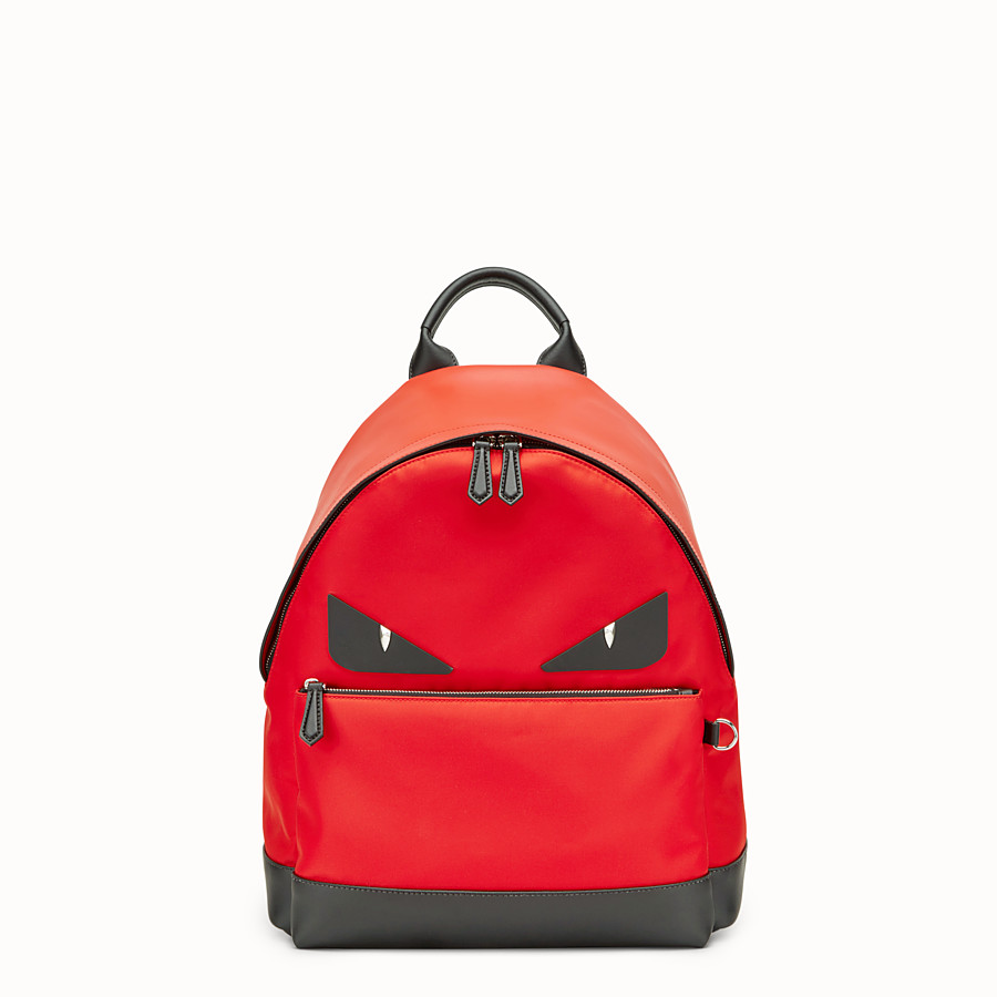 FENDI BACKPACK - Red fabric and leather backpack - view 1 detail