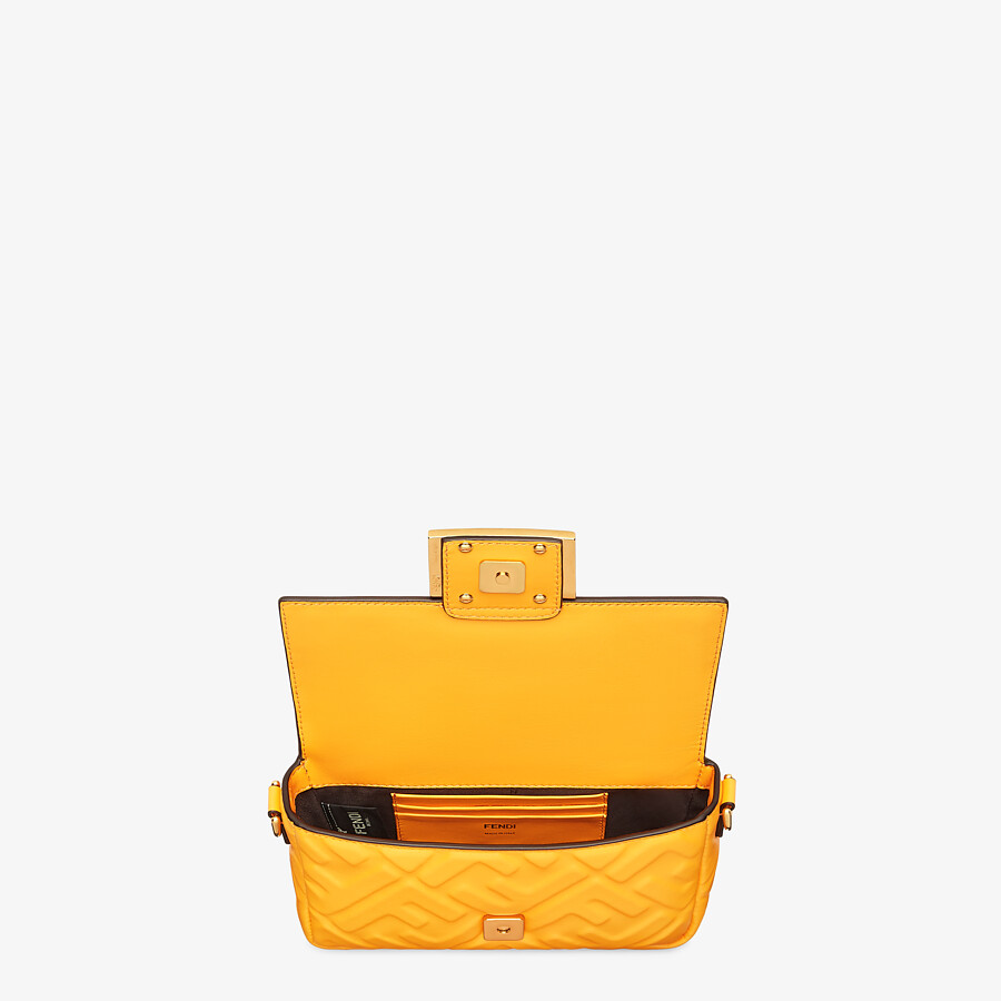 FENDI BAGUETTE - Orange nappa leather bag featuring the FF motif - view 5 detail