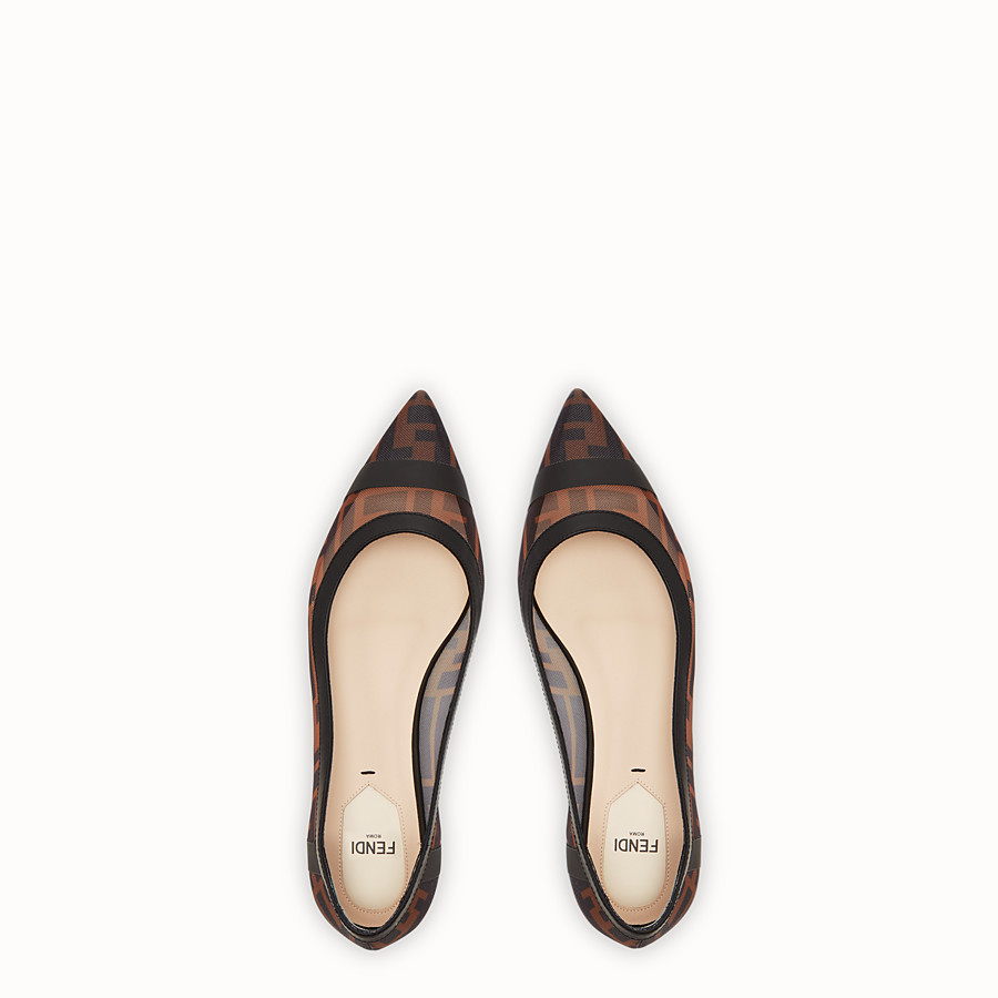 FENDI BALLERINES - Chaussures plates en filet et cuir noir - view 4 detail
