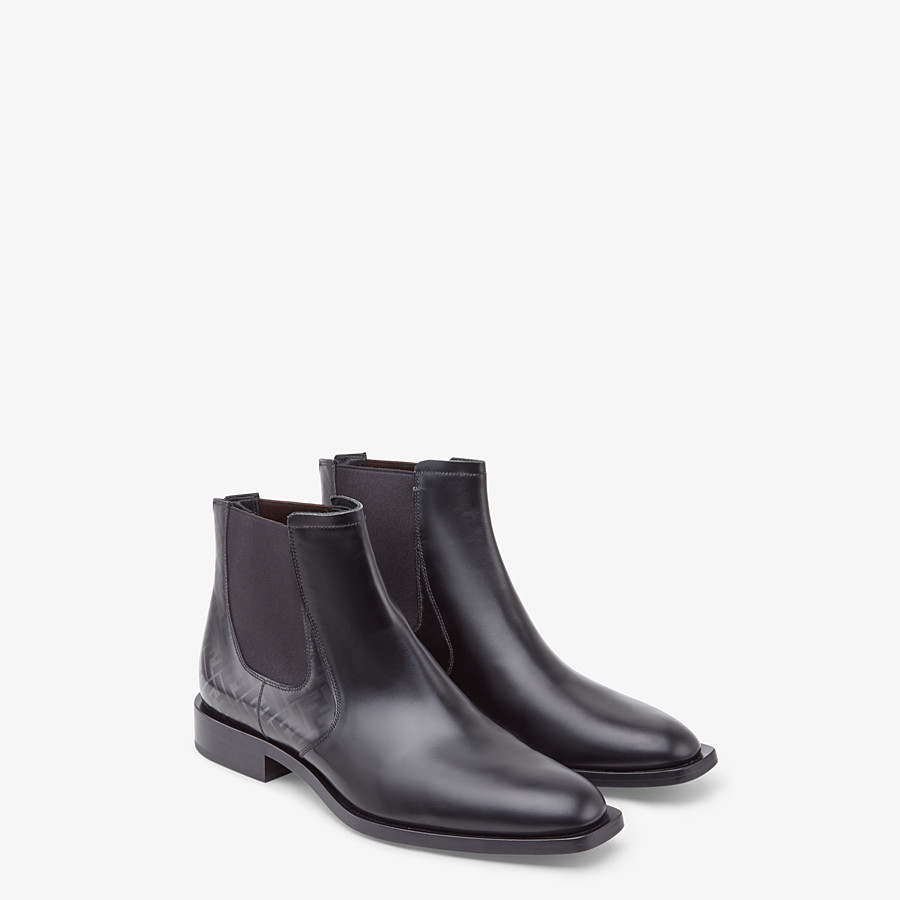 FENDI CHELSEA - Black leather ankle boots - view 4 detail