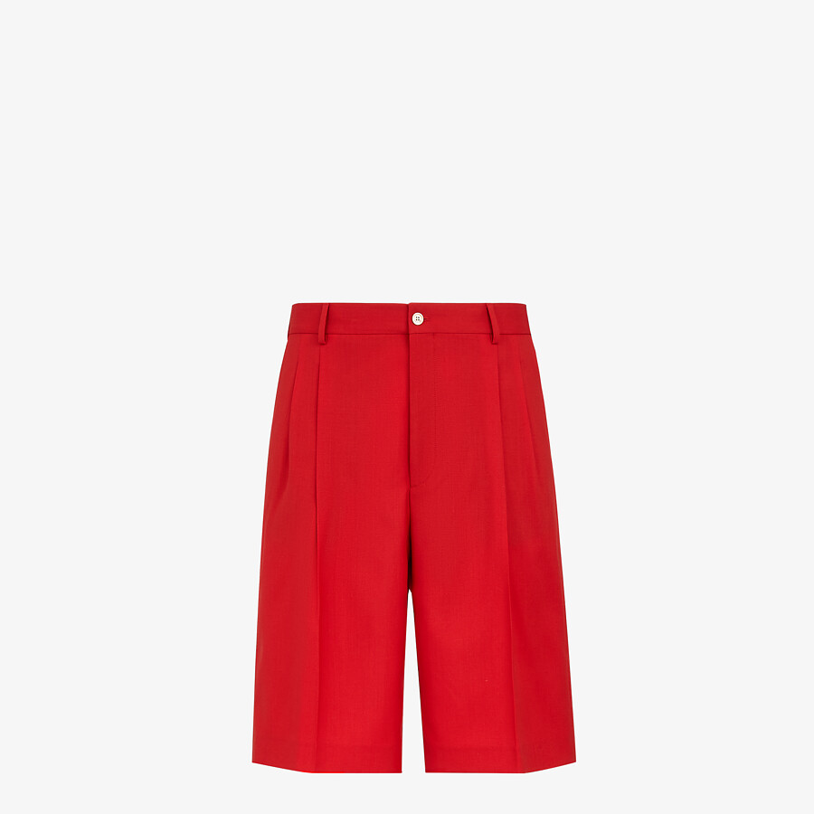FENDI BERMUDAS - Red wool pants - view 1 detail