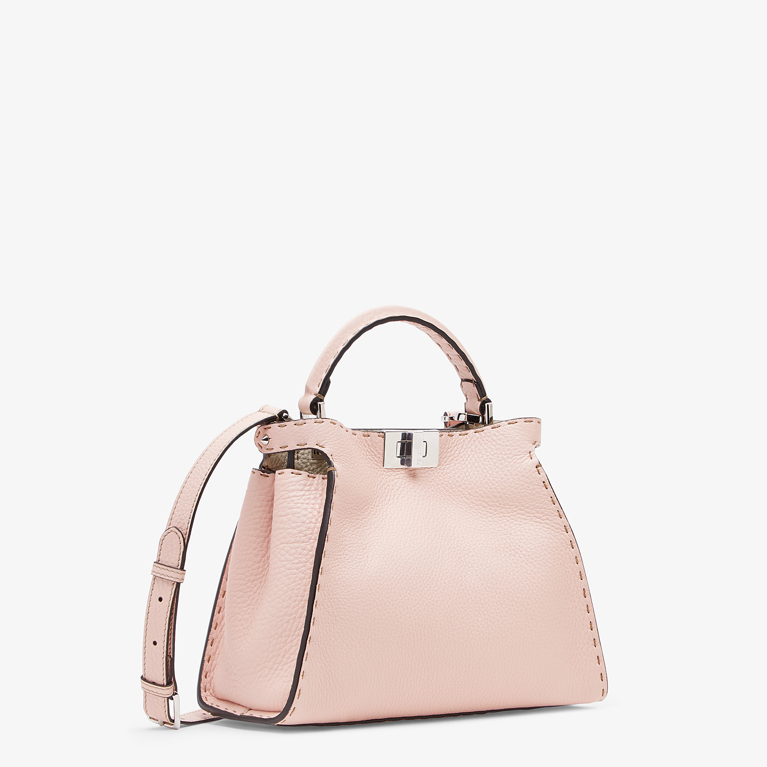 FENDI PEEKABOO ICONIC ESSENTIALLY - Pink leather bag - view 2 detail