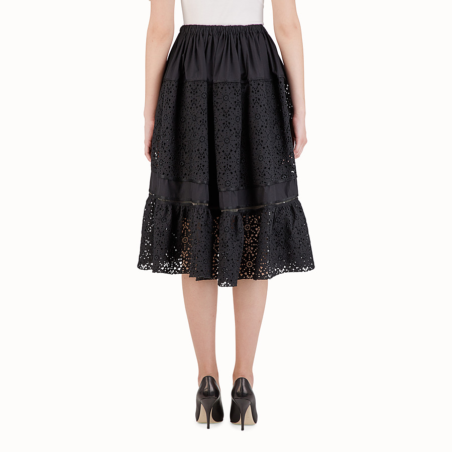 FENDI MIDI SKIRT - Black cotton skirt - view 2 detail