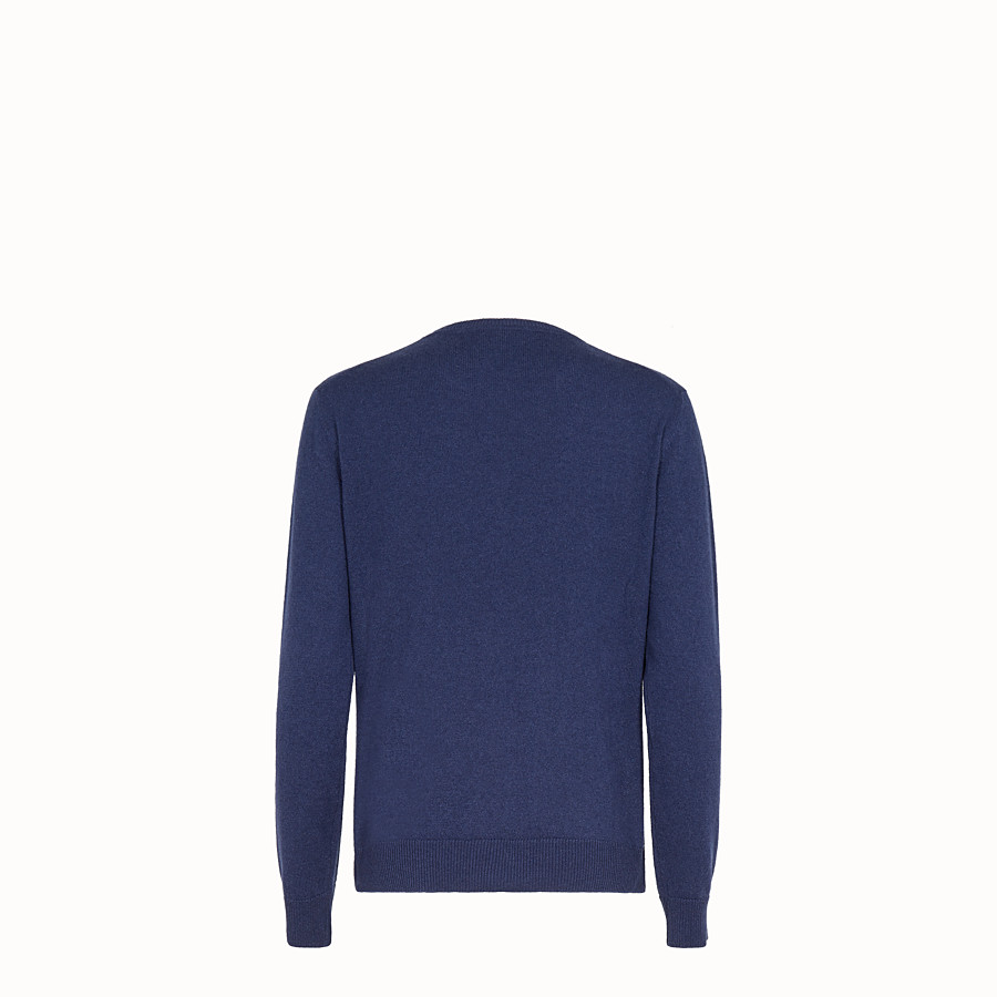 FENDI JUMPER - Blue cashmere and silk jumper - view 2 detail