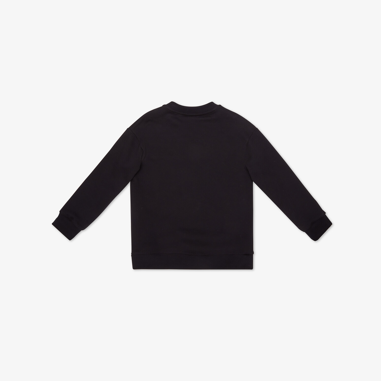 FENDI JUNIOR SWEATSHIRT - Black cotton junior sweatshirt with multicolor Fendi embroidery - view 2 detail