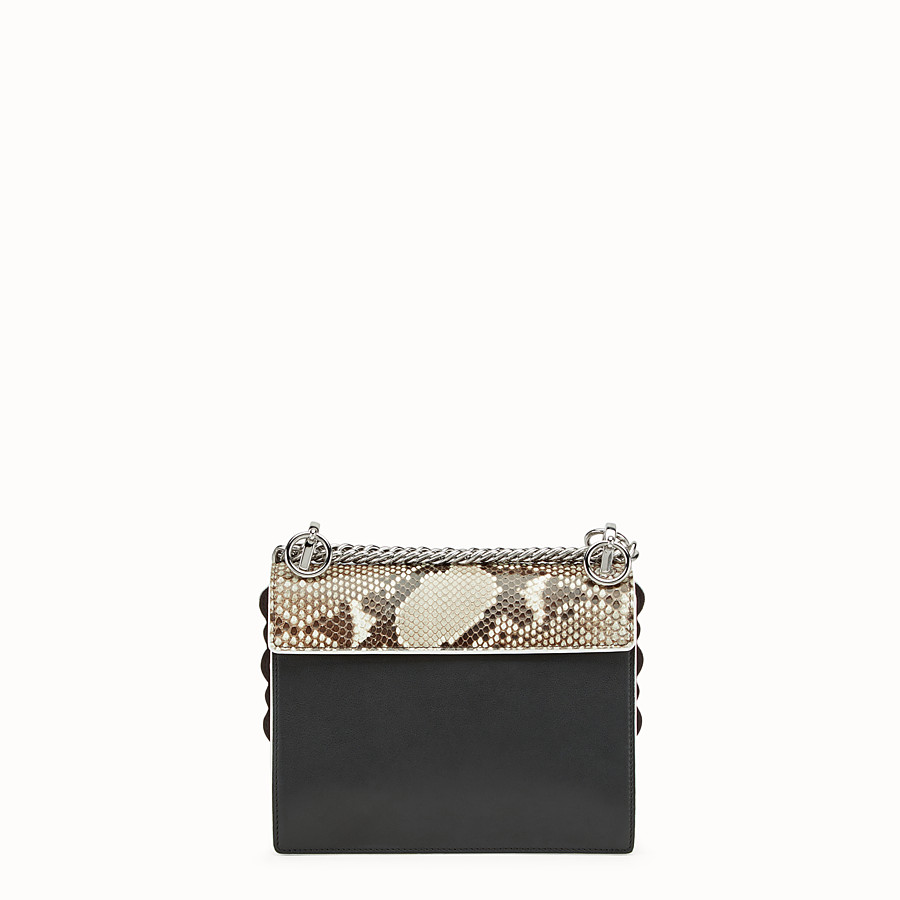 FENDI KAN I SMALL - Exotic black leather mini-bag - view 3 detail