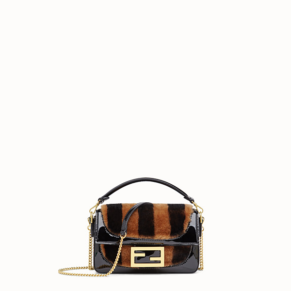 FENDI MINI BAGUETTE - Multicolour sheepskin and vinyl minibag - view 1 small thumbnail