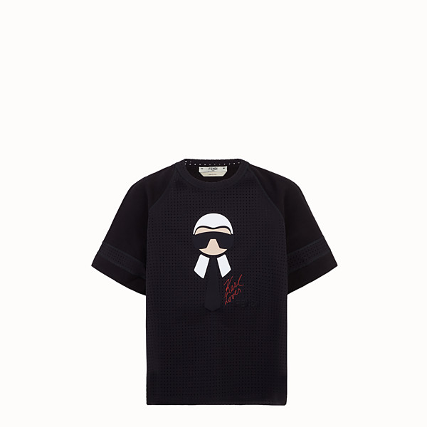 FENDI T-SHIRT - T-shirt in cotton and technical mesh - view 1 small thumbnail