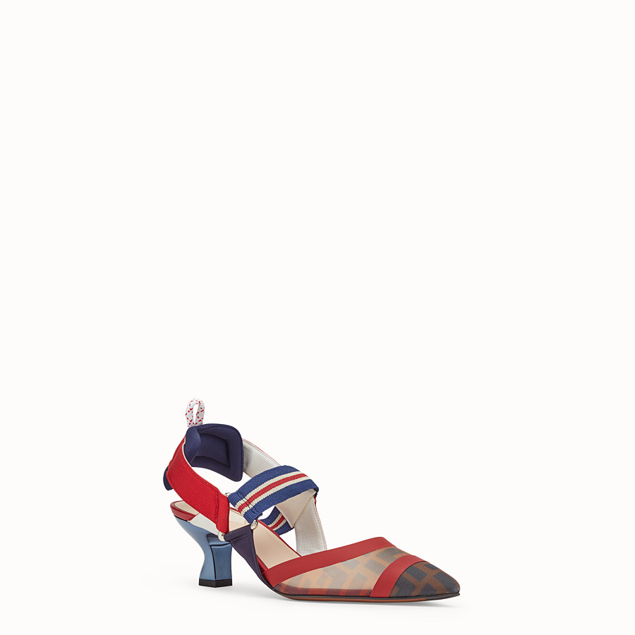FENDI PUMPS - Multicolour tech mesh slingbacks - view 2 detail