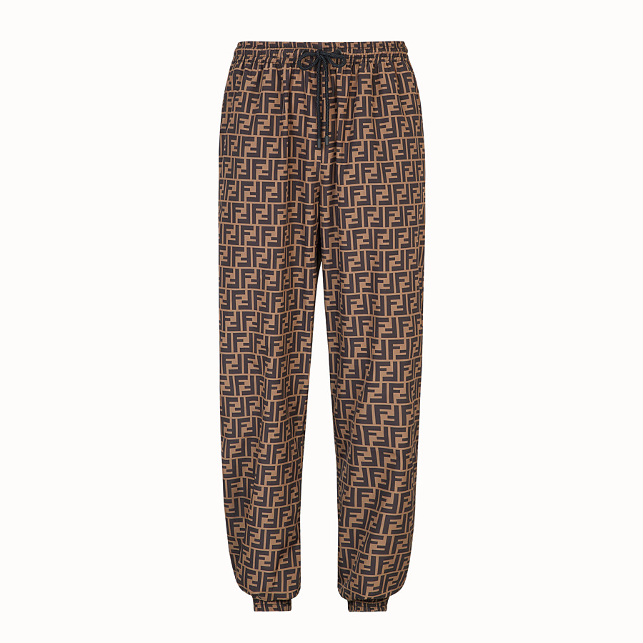 FENDI TROUSERS - Brown nylon trousers - view 1 detail