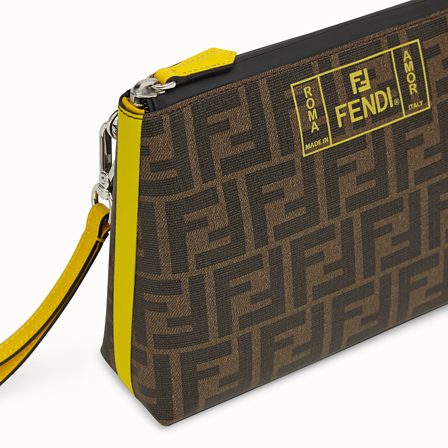 FENDI POUCH - Brown PU pochette - view 4 detail