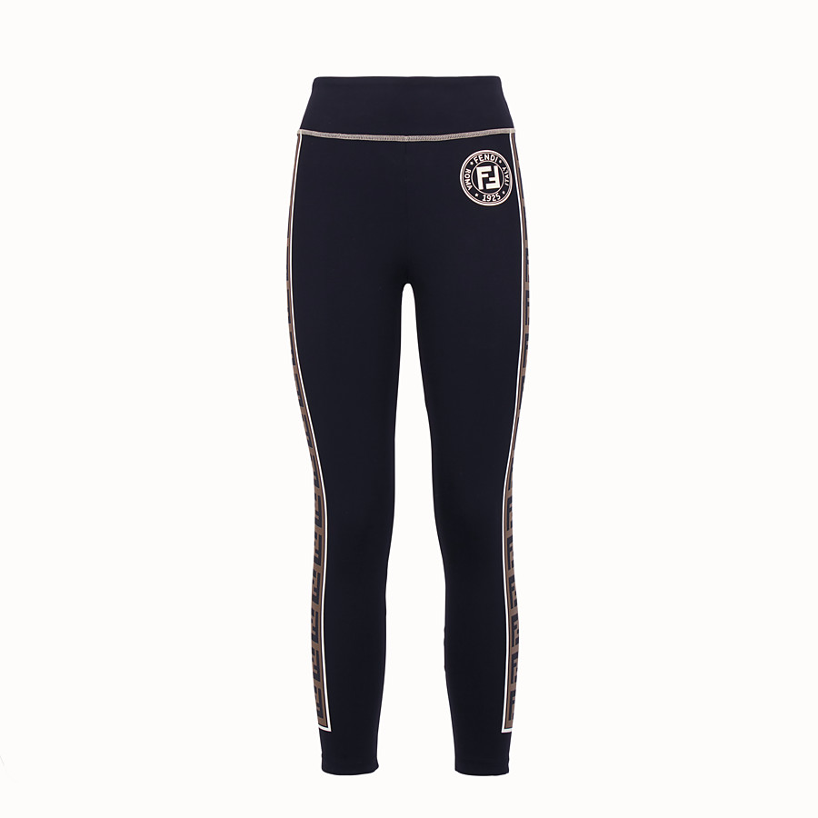 FENDI LEGGINGS - Black tech fabric trousers - view 1 detail