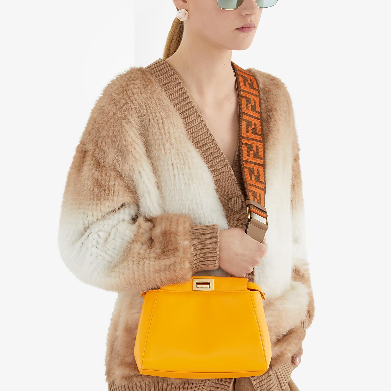 FENDI PEEKABOO ICONIC MINI - Orange nappa leather bag - view 2 detail