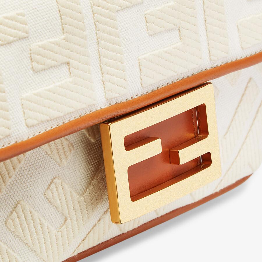 FENDI BAGUETTE MINI - White canvas FF bag - view 5 detail
