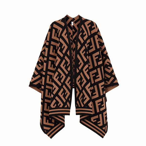 FENDI FF PONCHO - Brown knit poncho - view 1 small thumbnail
