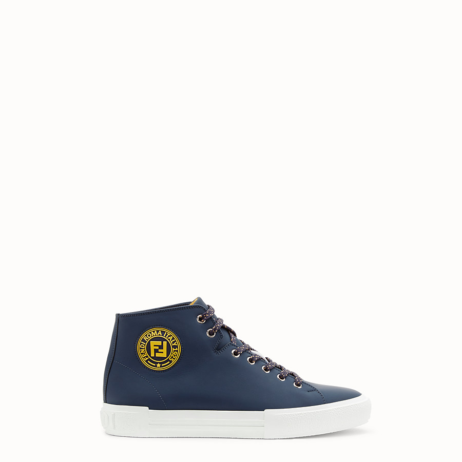 FENDI SNEAKERS - Blue leather high-tops - view 1 detail