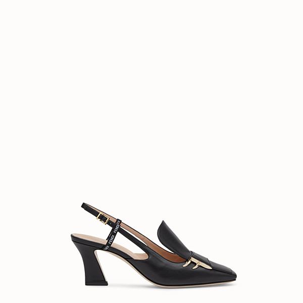FENDI 露跟鞋 - 黑色皮革露跟鞋 - view 1 小型縮圖