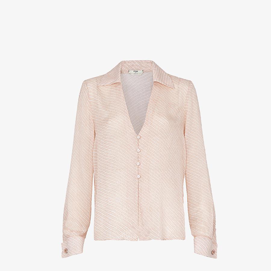 FENDI SHIRT - Pink silk cloqué blouse - view 1 detail
