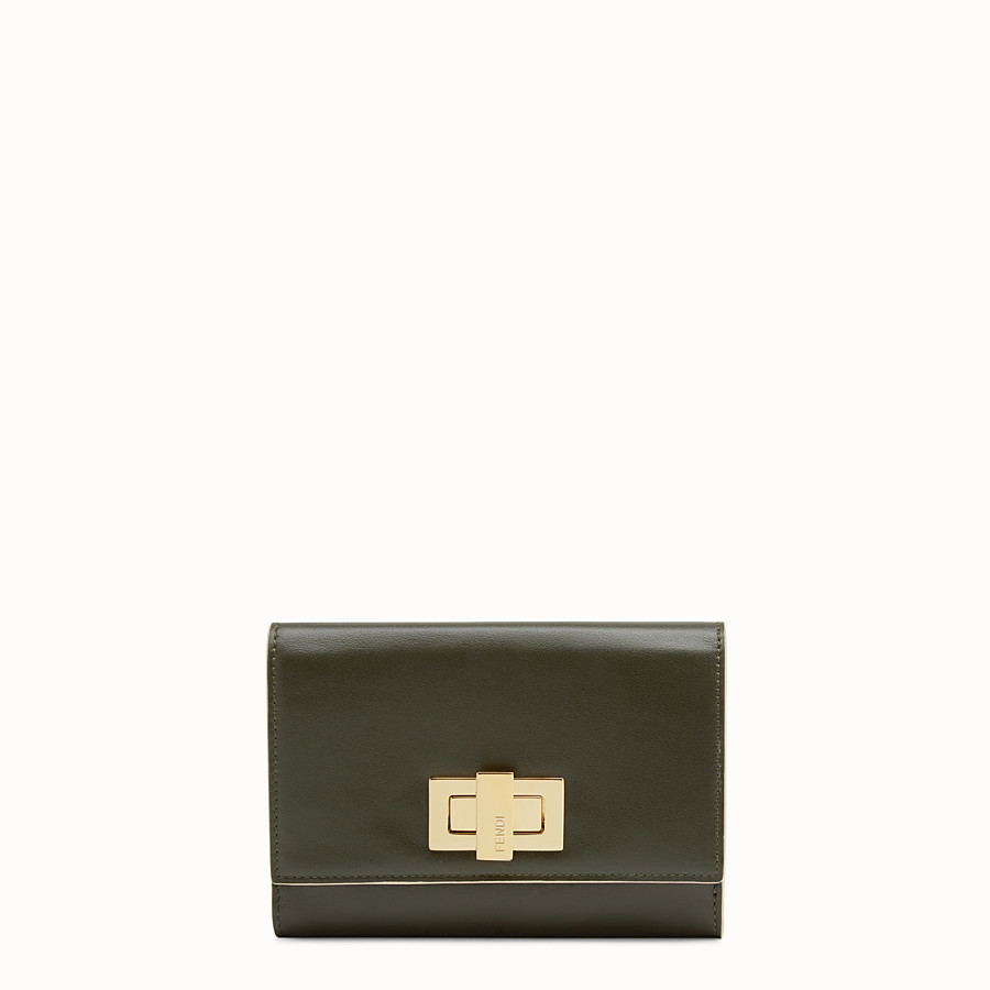 FENDI CONTINENTAL MEDIUM - Medium continental wallet in green leather - view 1 detail